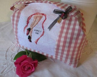"""Suitcase, Vanity """"Silk stockings"""" embroidery cross stitch and sewing"""