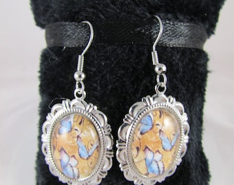 Earrings cabochon glass and butterflies