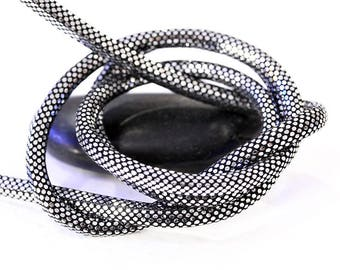Ø 6 mm - effect Disco silver leather cord