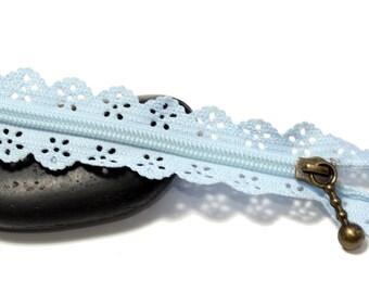 SKY blue set of 2 zippers zip ♥ ♥ lace 20cm