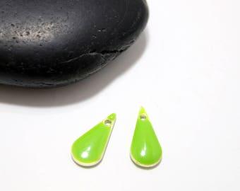 22mm - 2 enamelled green anise drop pendants