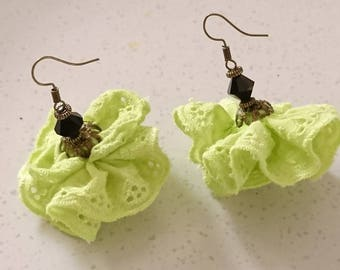 """Ribbon lace green anise, Swarovski Crystal and colored finishes bronze """"Frivolous"""" earrings."""