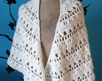 large white shawl with silver rhinestones