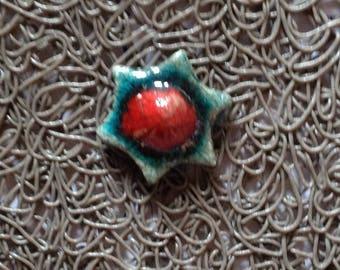 Flower star ring turquoise and Red Raku