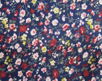 Floral fabric blue and Burgundy