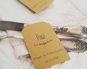 Cards wedding christening - model Baroque - guest - white kraft paper or ivory set of units 10/30/50/80/100/125/150