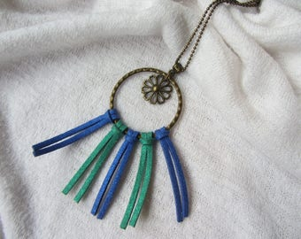 Fantasy necklace dream catcher with ring, flower and charm bronze metal and country blue and green sequined suede chain