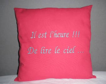 Cushion with custom embroidery and the phrase of your choice ..