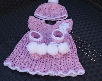 baby set, dress, booties, newborn Hat