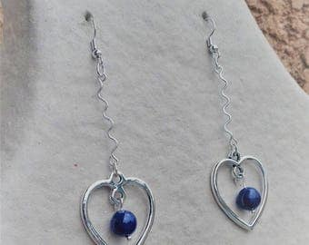 Plated Silver Heart Earrings decorated with a lapis lazuzli