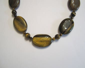 Necklace Tiger eye beads and coins on bronze findings