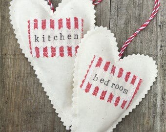 Linen filled hanging hearts - small under filled hanging heart - fabric heart - home decor - hanging decoration  - gift