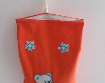 Bag child patterns coral blue Teddy bear and blue flowers / snack/storage bag
