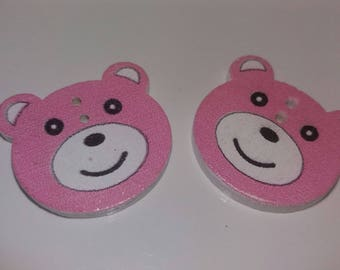 set of 2 embellishments pink Teddy bear buttons wooden