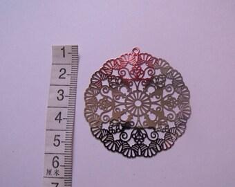 set of 2 silver tone filigree 48mm in diameter