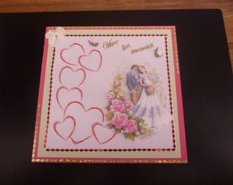 """embroidered card """"to live the newlyweds"""""""