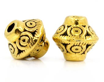 10 Bicone 7mm x 6mm antiqued gold Zinc Alloy spacer beads