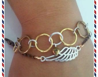 steampunk wing pendant bracelet