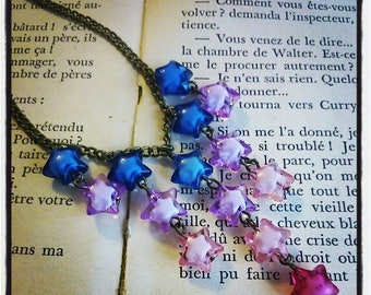 """Necklace cluster """"falling stars"""" multicolored synthetic beads"""