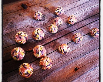 set of 14 beige camouflage colors polymer beads