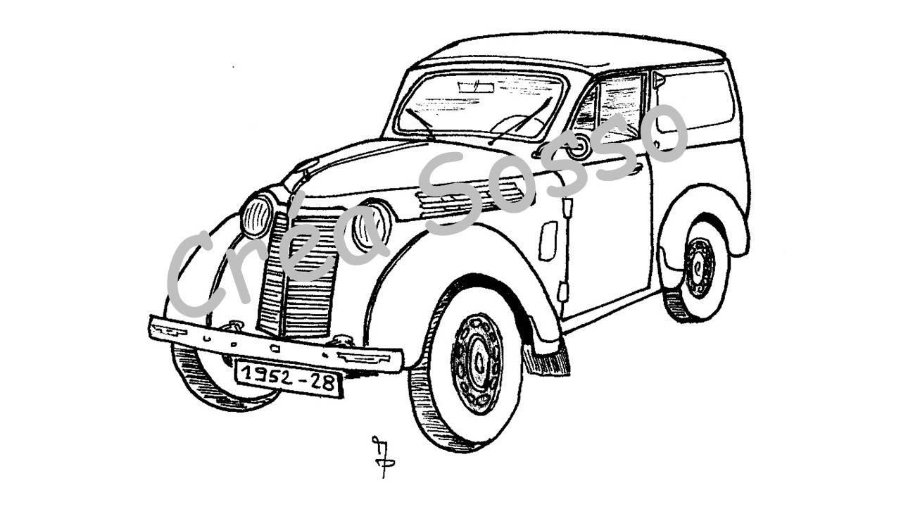 Porte-clès Dessin Voiture Ancienne Renault Juva 4