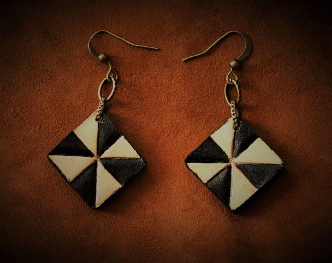 Gypset real leather embossed geometric pattern earrings