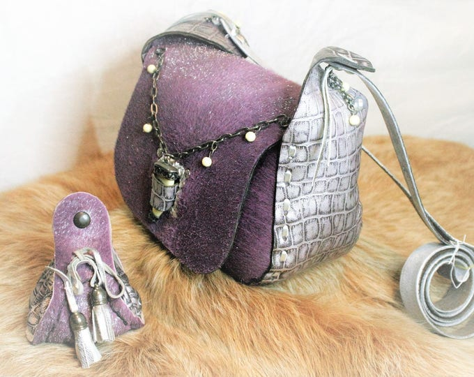 UNIQUE: Bag leather and real fur, purple glitter, neo-medieval style