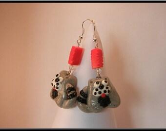 Cat polymer clay earrings.