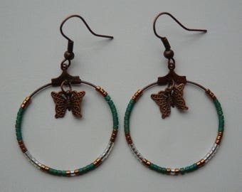 Butterfly and miyuki beads hoop earrings