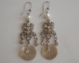 Mother of Pearl and silver style chandelier earrings retro
