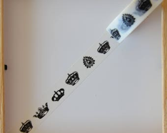 "Washi tape - ""Crown black"" - 1.5 cm x 10 m"