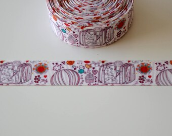 "Ribbon grosgrain ""Drawings"" VINTAGE""22mm"