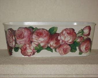 Free shipping! Vintage pink flower pot