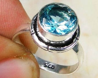 RING cabochon round Blue Topaz and Sterling Silver 925 size 52