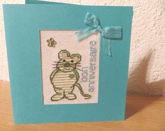 Hand embroidered birthday card: green mouse