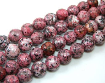 Pearl agate faceted 10 mm red set of 4