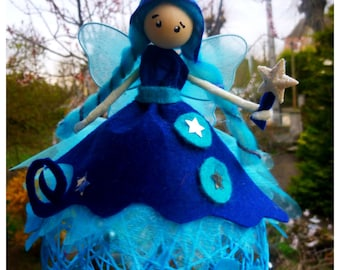 Fairy on ball, customizable product night/turquoise color