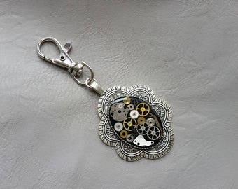 Metal pendant, resin and watch parts Steampunk bag charm