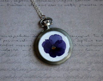 Necklace + genuine watch FOB (5cm), resin and dried flower Pansy blue