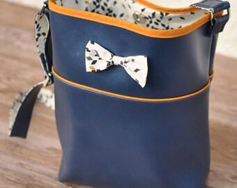 Metallic blue bucket and Mustard Twist knot bag