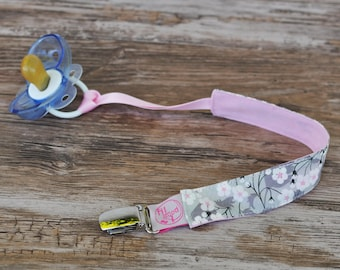 Pacifier clip fabric Liberty Mitsi gray and pink