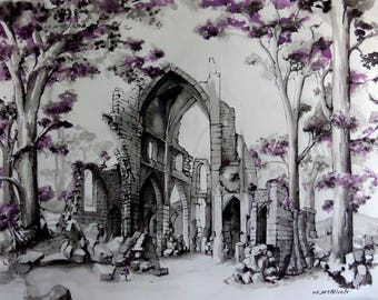 Cathedral in ruins painting
