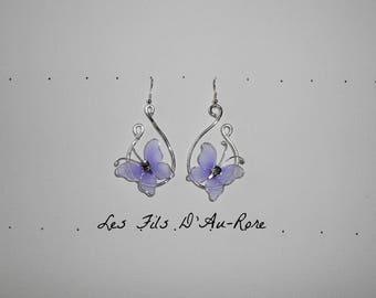 Silver Aluminum wire purple butterfly earrings