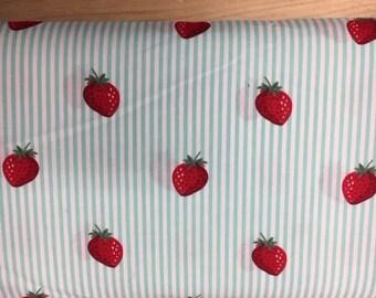 Tissu de coton imprimé fraises fond blanc rayures vert clair 150 cm largeur