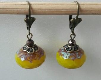Khaki opal Czech glass Pearl Earrings