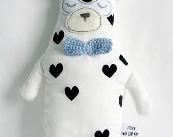 Teddy bear fleece hearts and bow tie pattern sky blue - black and white