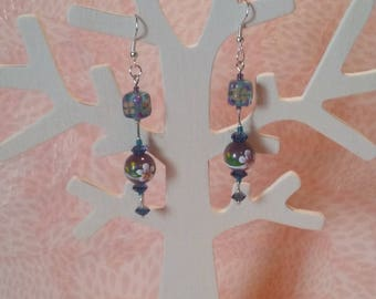 Earrings - flower blue and purple