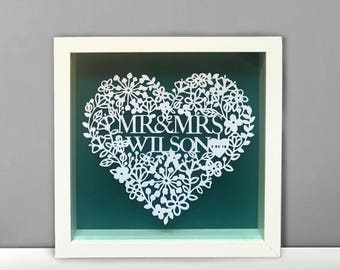 personlised mr mrs papercut frame a special wedding gift - Mr And Mrs Picture Frame
