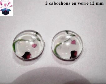 2 glass cabochons 12 mm for loop or ring birds theme