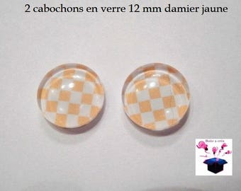 2 glass cabochons 12 mm for loop or ring checkerboard yellow theme